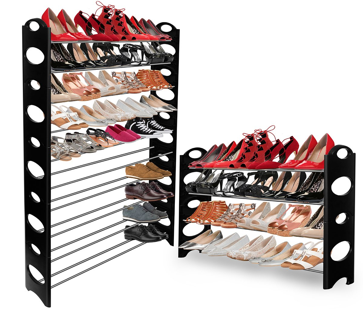 OxGord 50 Pair Shoe Rack Storage Organizer, 10 Tier Portable Wardrobe Closet  Bench Tower Stackable, Adjustable Shelf   Strong