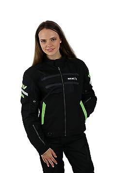 NERVE 15110710307_07 Cool Slight Blouson Moto d'Eté Textile, Noir/Vert Fluo, Taille : 3XL