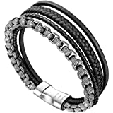 murtoo Leather Bracelet Magnetic-Clasp Cowhide Braided Multi-Layer Wrap Mens Bracelet, 7.5-8.7 Inches (Black-Silver 8