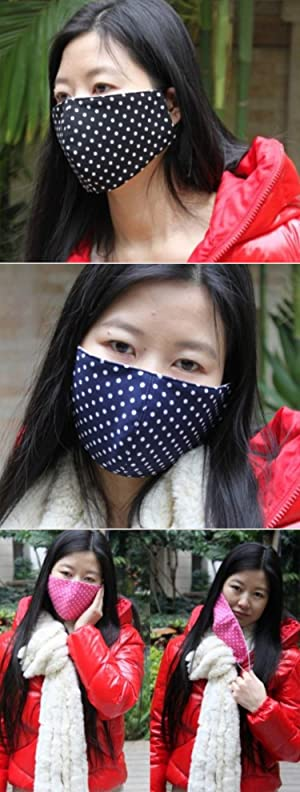 Anti Pollution Dust PM2.5 Mouth Mask Washable and Masks for Children Men and Women (DOTS-Blue) (Color: DOTS-Blue)