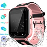 Waterproof Smart Watch Phone Boys Girls – Kids Smartwatch Touchscreen Digital Watch with SOS 2 Way Call Voice Chat Camera Game Flashlight Alarm Clock Children Sports Wrist Watch Birthday (Color: 01 S7 Pink)