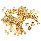 CRAFTMEmore 2MM Hole 200PCS Tiny Grommets Eyelets Self Backing for Bead Cores, Clothes, Leather, Canvas (Gold) (Color: Gold, Tamaño: 2 mm)