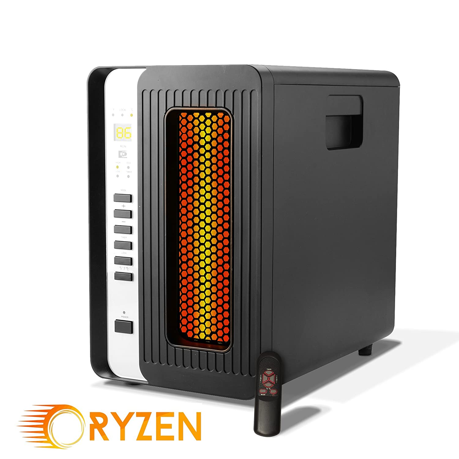 Ryzen H-5000 Pro Portable Infrared Quartz Heater w/Remote 1500 Watts