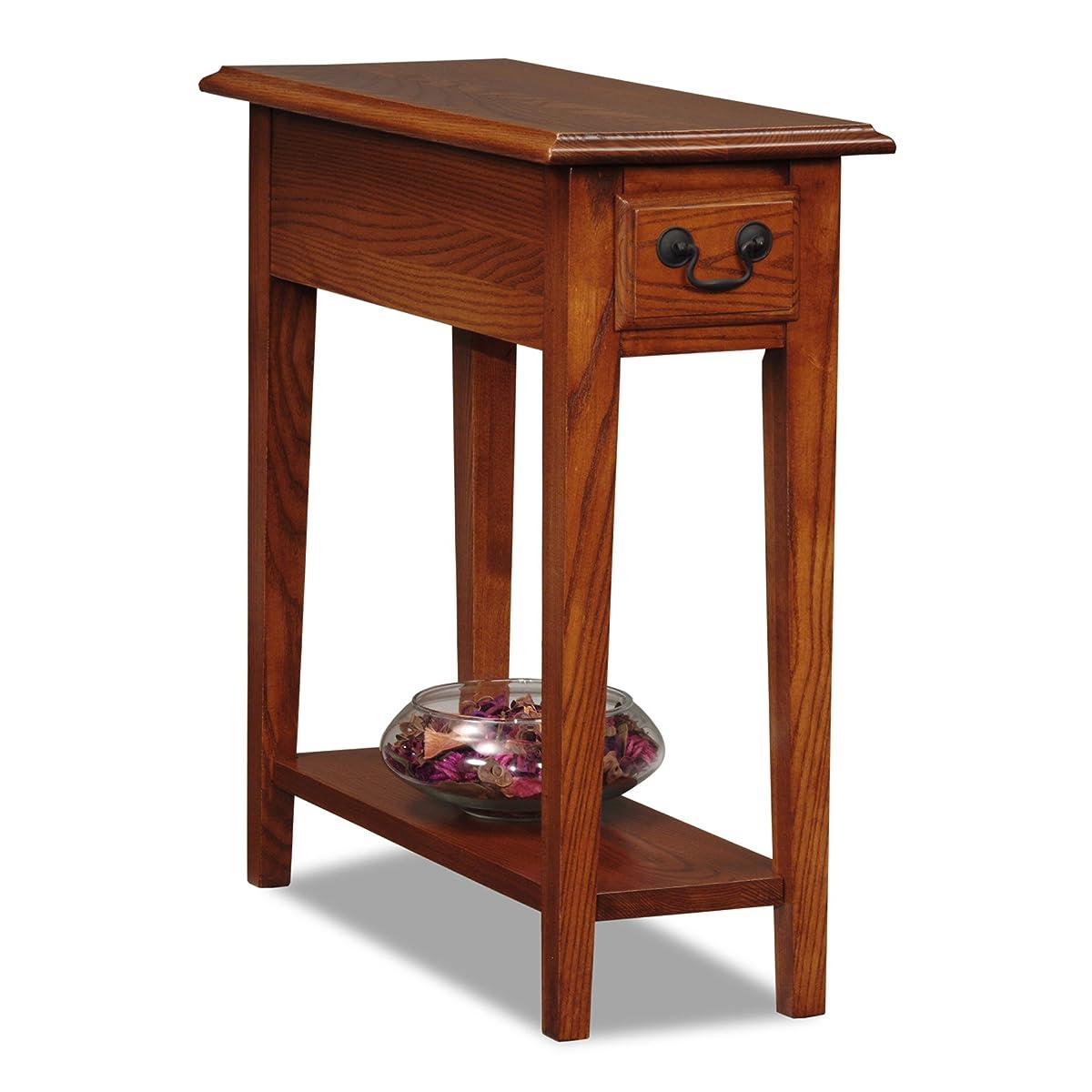 Leick Chair Side End Table, Medium Oak Finish