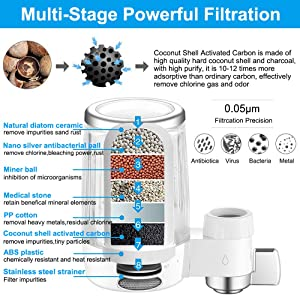 Water Faucet Filtration System,Advanced Faucet Water Filter with Activated Carbon,Removes Lead /& Chlorine,High Water Flow Tap Water Purifier for Home Kitchen Bathroom 1 Filter Included