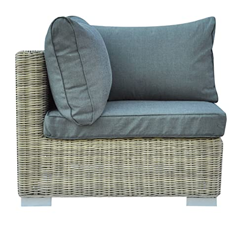 Poltrona da giardino angolare per Set componibile Antigua in Wicker colore Grey Kubu completa di cuscini e schienale grigi sfoderabili