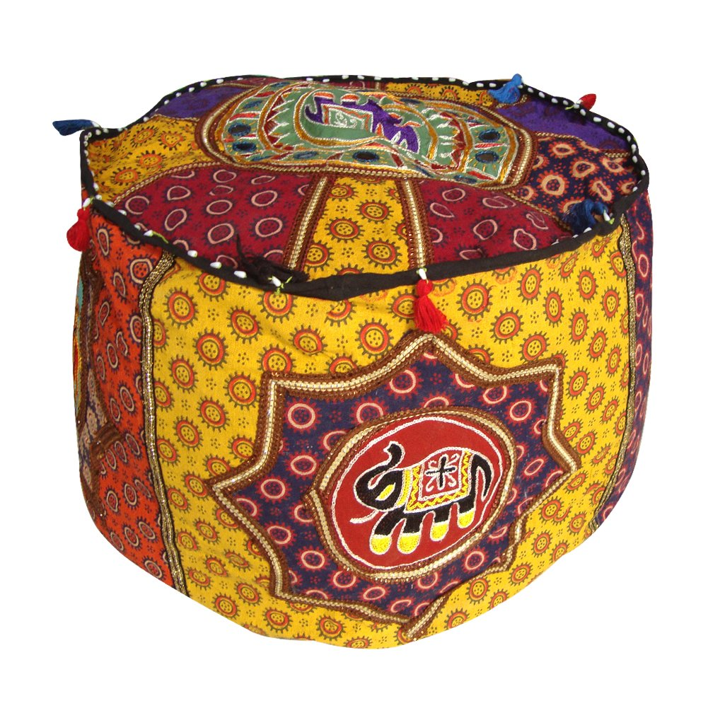 Traditional Embroidered Gujarati Patchwork Unstuffed Ottoman Pouf Cover