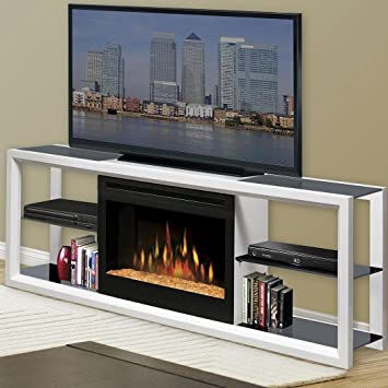 "Novara 64"" TV Stand with Electric Fireplace Finish: White with Glass Ember Bed"
