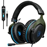 SADES PS4 Gaming Headset, Xbox One Headset Bass Surround, Soft Memory Earmuffs, Over Ear Headphones with Mic for Sony Playstation 4 PS4 Xbox one PC Laptop Mac Smartphones (Black &Blue) (Color: R3 Blackblue)