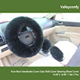 Valleycomfy Fashion Steering Wheel Covers for Women/Girls/Ladies Australia Pure Wool 15 Inch 1 Set 3 Pcs, Black