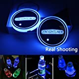 2 Pieces MENG XI Car Logo LED Cup Holder Mats Intelligent Remote Control Changing Color Led Luminous Mats LED Car Cup Holder 16 Colors Changing USB Charging Mat for Mazda