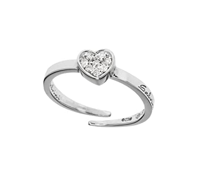 Salvini 9ct White Gold with Diamond Pave Heart Ring with a Resizable Shank