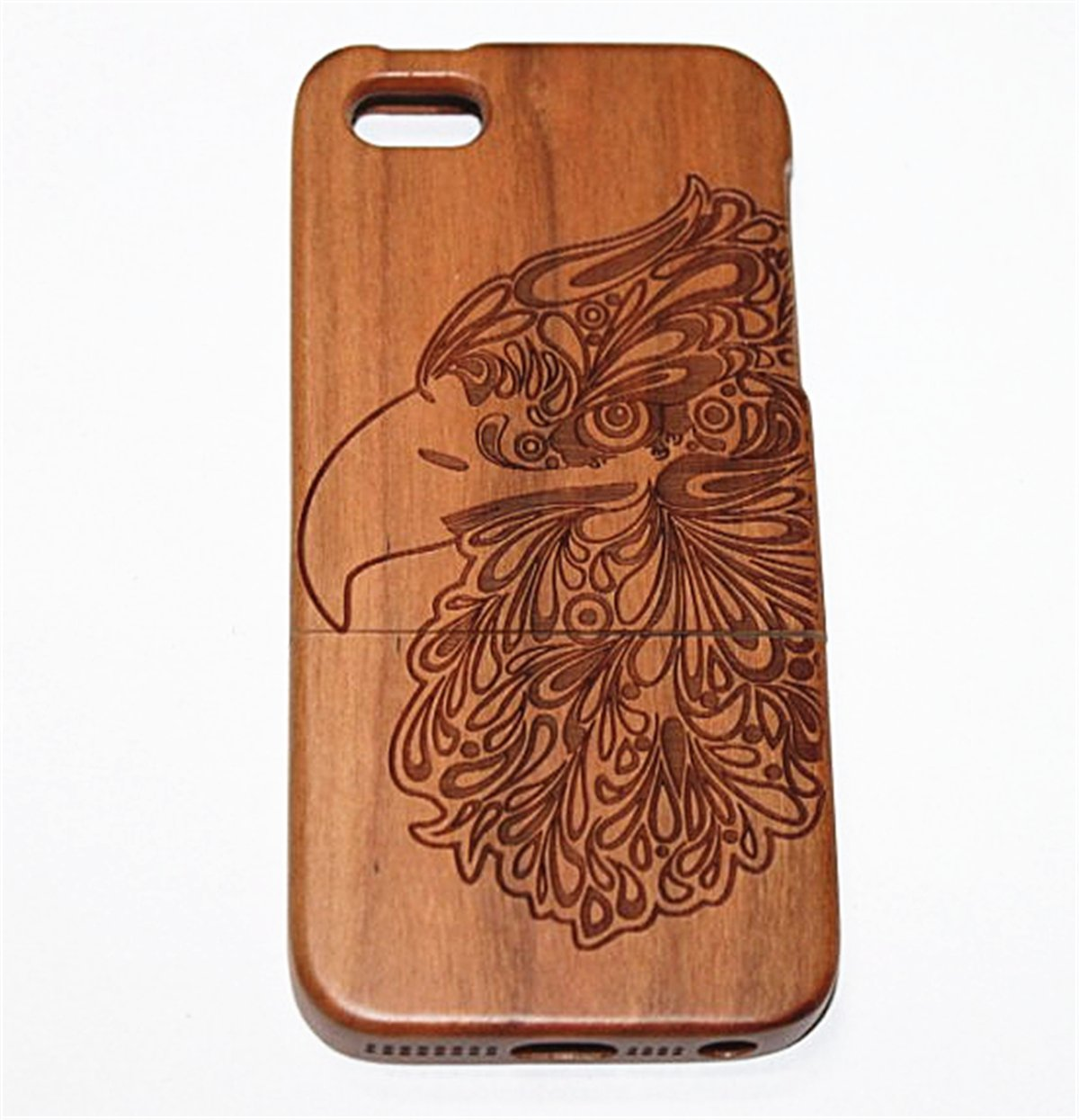 S4 Case, Firefish Unique Eco-Friendly 100% Real Natural Wood With Laser Engraved Pattern Drop & Shock Protective Super Hard Shell Case For Galaxy S4 -Eagle