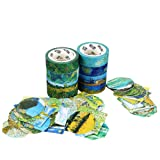 Molshine Set of 8 Japanese Washi Masking Tape,Adhesive Sticky Paper Tape+ 90pcs Planner Stickers-Van Gogh Oil Painting Series Collection for Journals, Daily Planners,Decoration,DIY,Gift Packaging (Color: Van Gogh)