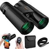COSBITY Binoculars for Adults, 12x42 Low Night Vision Binoculars Telescopes with Cell Phone Photography Adapter and Wireless Camera Shutter Remote Control for Bird Watching/Hunting/Camping/Travelling (Color: D-BLACK)