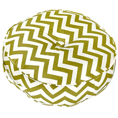 Greendale Home Fashions 20-Inch Round Floor Pillow Zig Zag fabric, Village Green