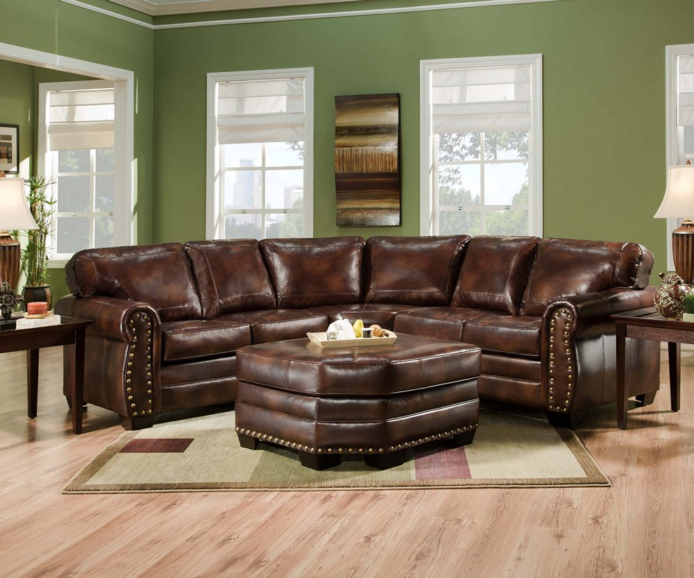 Simmons 9222dn Encore Brown Leather Sectional Sofa Ottoman