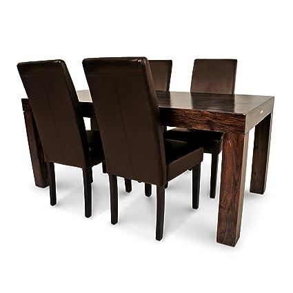 SAM® Sheesham Tischgruppe 5tlg CUBUS_2 - 7029 exklusiv 1 x Tisch CUBUS gewachst in walnuss farben 4 x Stuhl Florenz braun kolonial Lieferung erfolgt uber Spedition teilzerlegt