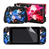 eXtremeRate Full Set Faceplate Skin Decal Stickers for Nintendo Switch/NS with 2Pcs Screen Protector (Console & Joy-con & Dock & Grip)-Ghost Fire (Color: Ghost Fire)