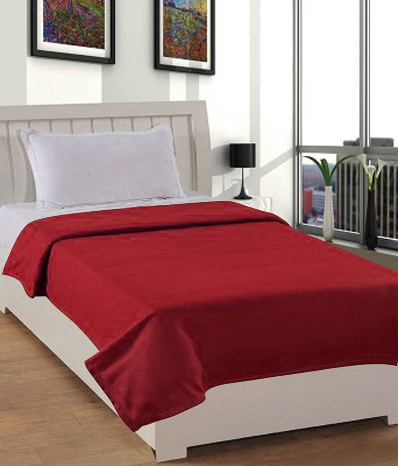 Warmland Fleece Solid Polyester Single Blanket - Red