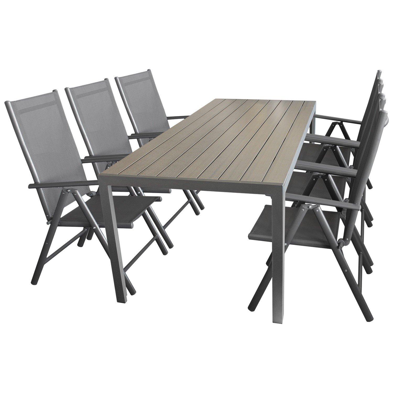 7tlg. Sitzgruppe Gartengarnitur Gartenmöbel Terrassenmöbel Set Sitzgarnitur Aluminium Polywood Tisch 205x90cm + 6x Hochlehner 2×2 Textilen günstig bestellen
