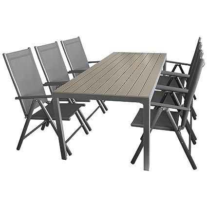7tlg. Sitzgruppe Gartengarnitur Gartenmöbel Terrassenmöbel Set Sitzgarnitur Aluminium Polywood Tisch 205x90cm + 6x Hochlehner 2x2 Textilen