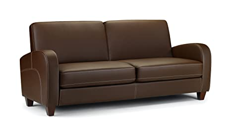 Julian Bowen Vivo Faux Leather 3 Seater Sofa, Brown