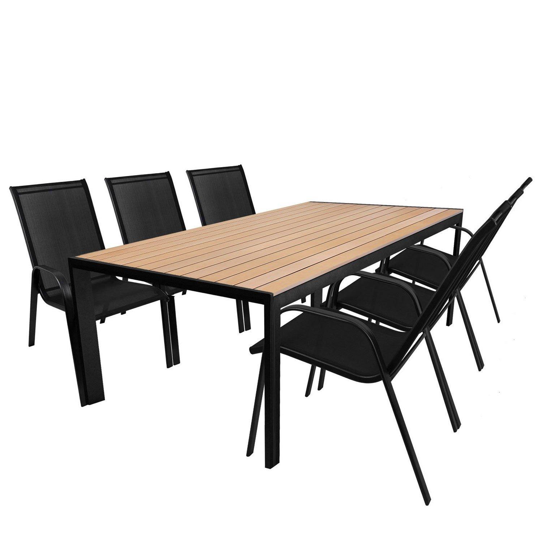 7tlg. Gartengarnitur Aluminium Polywood Gartentisch Teak-Optik 205x90cm + Stapelstuhl Schwarz mit Textilenbespannung Sitzgruppe Sitzgarnitur Terrassenmöbel online kaufen