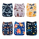 Babygoal Baby Cloth Diapers for Boys, Adjustable Pocket Nappy, 6pcs Diapers+ 6pcs Microfiber Inserts+4pcs Bamboo Inserts 6FB02 (Color: boy color 2, Tamaño: One Size)