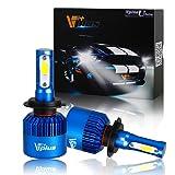 Vplus U Series LED Headlight Bulbs w/ Clear Focused Beam Kit - H7 80W 8,000LM 6500K White COB w/ Fan LED Headlamp Conversion Replace HID & Halogen- (2pcs/set) (Tamaño: H7)