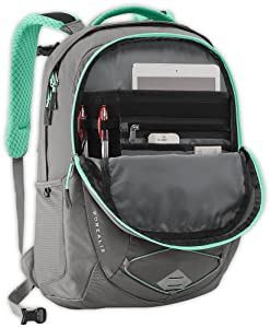 Organizer compartment with a padded and fleece lined tablet pocket