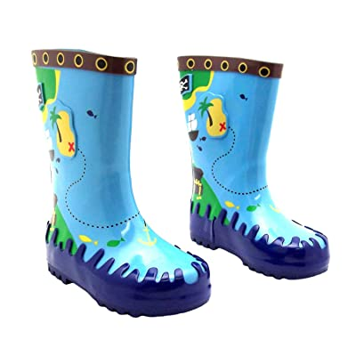 Boy's Billy Bones Blue Pirate Print Slip On Welly Boots
