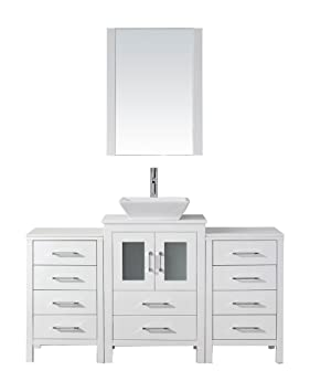 Virtu USA KS-70060-S-WH Modern 60-Inch Single Sink Bathroom Vanity Set with Polished Chrome Faucet, White
