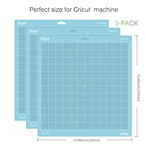 Diyit Lightgrip Cutting Mat 12x12 for Cricut Maker/Explore Air 2/Air/One, 3 Pieces Blue Gridded Cutting Mats for Crafts (Tamaño: 12x12 lightgrip mat)