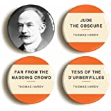 Thomas Hardy Button Pin Set (Size is 1inch diameter) Jude The Obscure, Tess of the D'Urbervilles (Color: Multicolored, Tamaño: 1inch diameter)