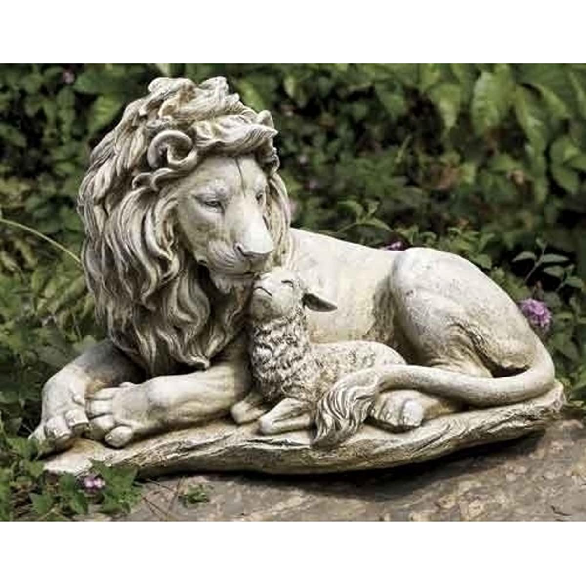 "20"" Josephs Studio Lion and Lamb Outdoor Garden Statue"