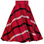 YSJ Women's Wool Midi Skirt A-Line Pleated Vintage Plaid Winter Swing Skirts