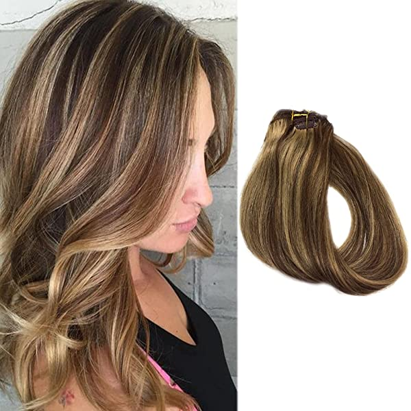 Clip In Hair Extensions Brown Hair With Blonde Highlights 70grams