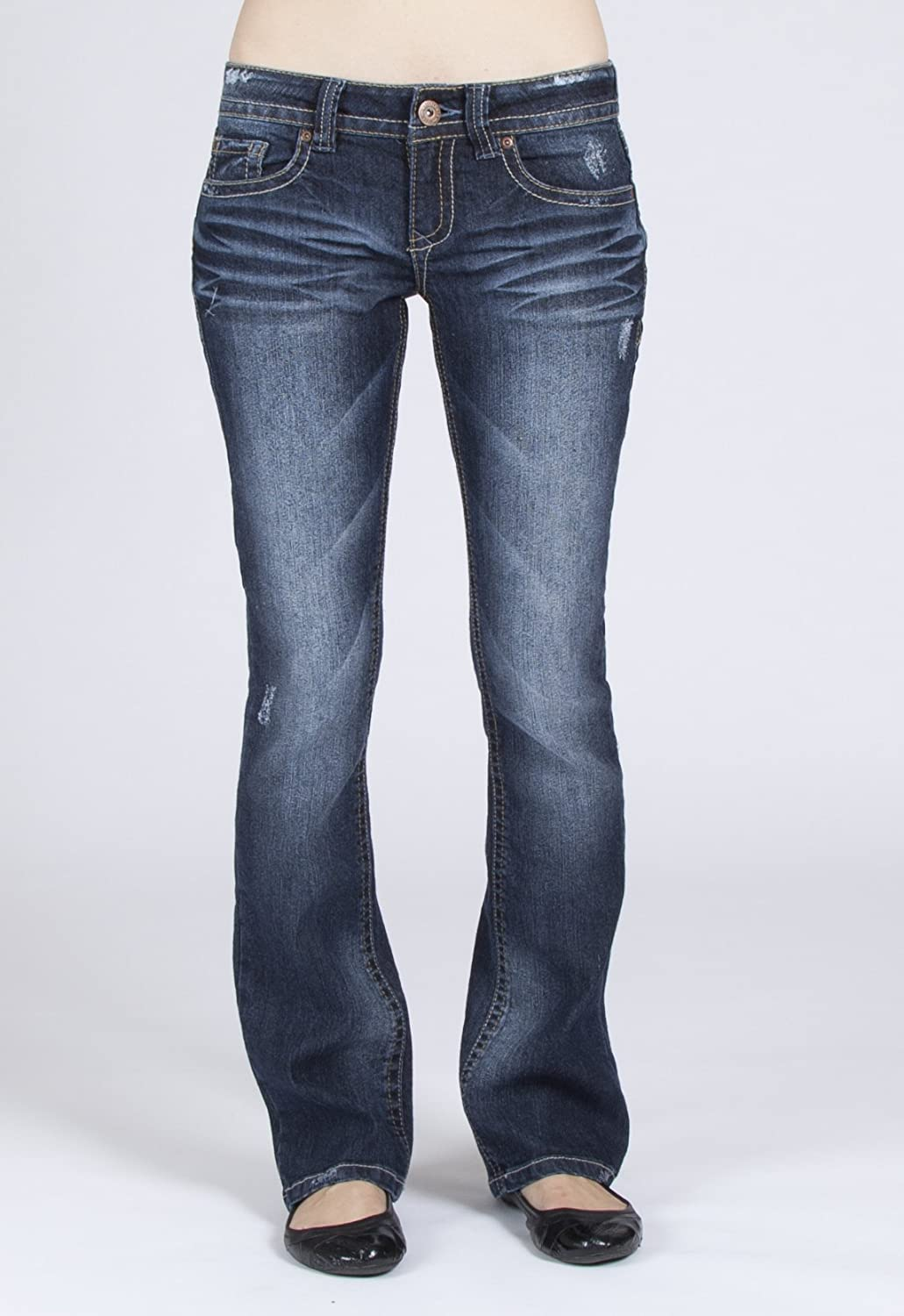 1HR1310-480-13 Wallflower Junior Legendary Bootcut Jeans in Dark Sandblast Size: 13