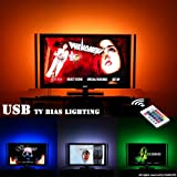 LED Light Strip Behind TV LED Lighting, LED TV Backlight for 32-60in HDTV Bias Lighting, (6.56ft Black LED Strip USB Powered, 16 Colors, Remote Dimmable, Sync ON/OFF With TV) (Color: Multicolor, Tamaño: Fit 32-60