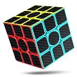 CFMOUR Speed Cube, 3x3x3 Carbon Fiber Sticker Smooth Magic 3D Puzzle Rubiks Cube, Enhanced Version, 5.7cm (Black) (Color: Colourful, Tamaño: 3x3x3)