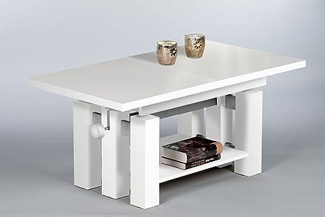 """Couchtisch """"NINA"""" Wohnzimmertisch Beistelltisch Tisch Höhenverstellbar in Weiss"""