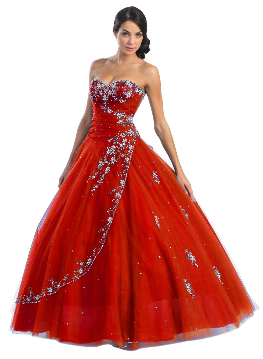 strapless red wedding dress
