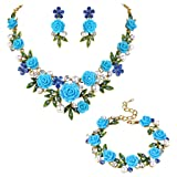EVER FAITH Crystal Simulated Pearl Rose Flower Leaf Necklace Earrings Bracelet Set Blue Gold-Tone (Color: Blue)