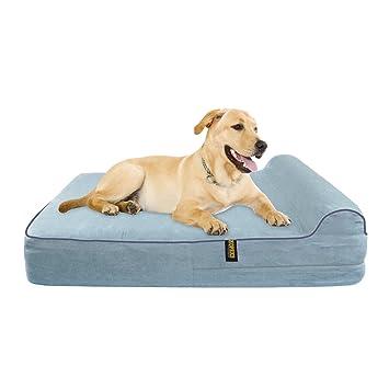 KOPEKS Cama Extra Grande para Perros Mascotas con Memoria Viscoelástica Ortopédico 127 x 85 x 18 cm más la Almohada - XL - Gris