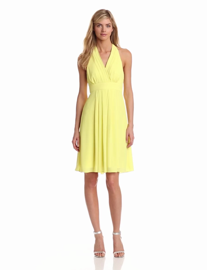 Vince Camuto Womens Halter Dress With Pleated Neckline, Blazing Yellow, 6