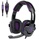 SADES SA930 3.5mm Wired Over Ear Stereo Gaming Headset with Mic Noise Isolating for PS4/ PC/ MAC/ Phones/ Tablet in Black Purple