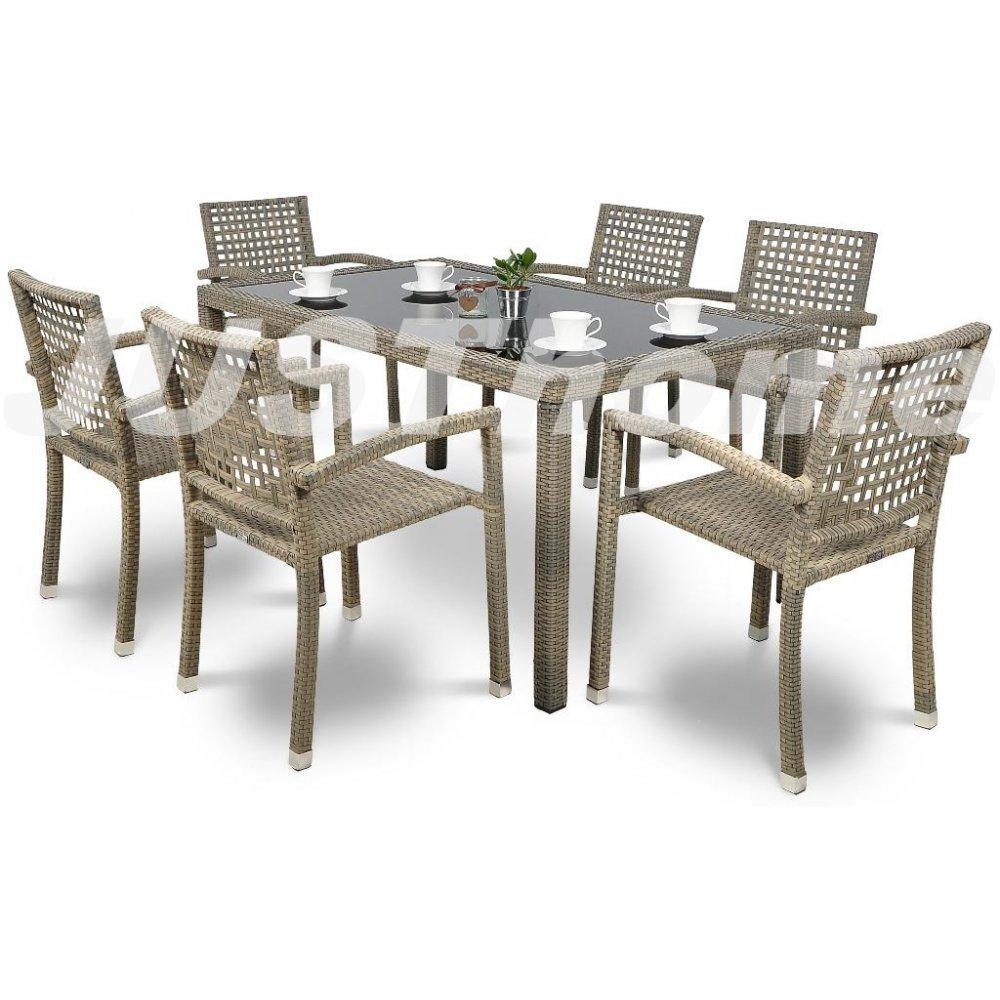 JUSThome Gartenmöbel Sitzgruppe Gartengarnitur Roca / Torino 6x Stuhl + Glastisch Farbe: Grau
