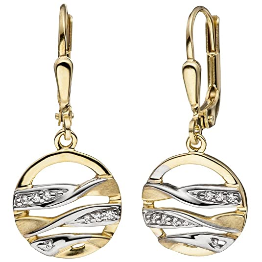 Drop Earrings with Round Zirconia Bicolour Matt 333 gold Yellow gold earrings