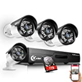 ?Updated? XVIM 8CH 4-in-1 720P DVR Security Camera System CCTV Recorder with 1TB Hard Drive,4pcs Outdoor Surveillance Cameras with Night Vision, Easy Remote Access on Phone (Color: 8CH DVR w/4 Cameras 1TB, Tamaño: 1TB)